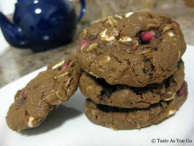 Pomegranate Double Chocolate Chip Cookies | Taste As You Go