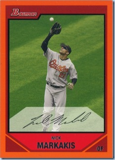 2007 Bowman Markakis Orange 116 of 250