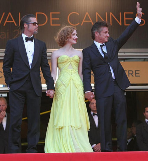 Sean Penn que acompañó a Pitt y a Jessica Chastain