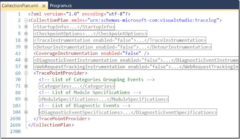 Скриншот: файл с настройками IntelliTrace