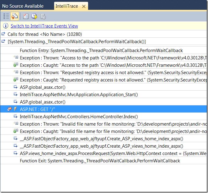 Скриншот: Залогированные вызовы методов для точки IntelliTrace