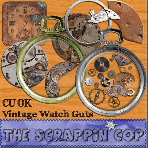 "Free ""Vintage Watch Guts"" from The Scrappin Cop - {CU}"