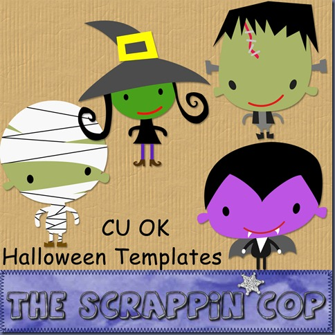 "Free ""Halloween Templates"" from The Scrappin Cop - {CU}"