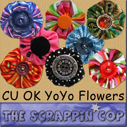 "Free ""YoYo Flowers"" from The Scrappin Cop - {CU}"