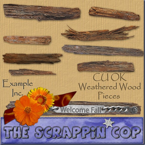 "Free ""Weathered Wood Pieces"" from The Scrappin Cop - {CU}"
