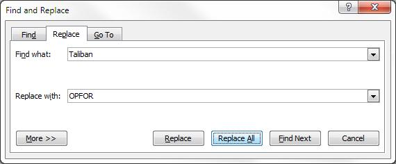 Find and replace dialog box from Microsoft Word 2007 with Taliban in the find field and OPFOR in the replace field