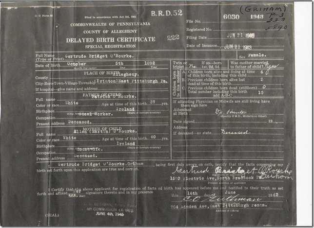 Gertrude B O&#39;Rourke delayed birth cert 1943