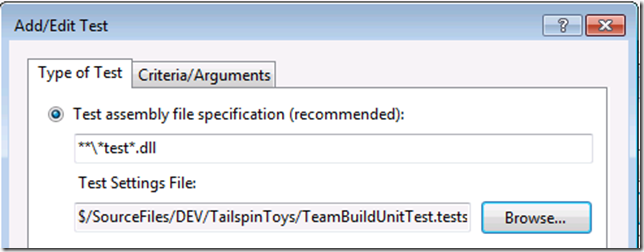 Configure build test settings
