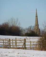 ticknall church in snow