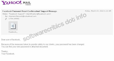 Facebook Password Reset Confirmation Support Email with Rogueware Attachment