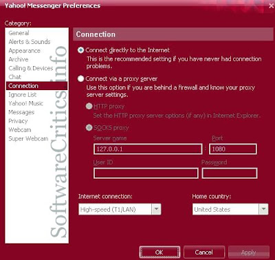 Yahoo Messenger Connection Preferences