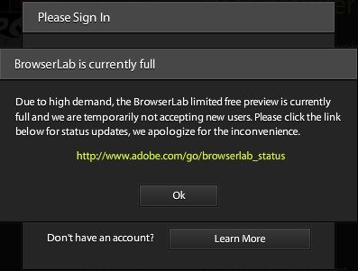 Adobe BrowserLab free limited viewing full message