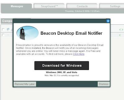 Pop-up message to download Beacon Desktop Email Notifier