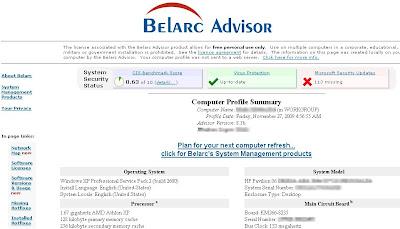 Belarc Advisor Computer Profile Results