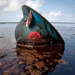 A hard hat from an oil worker lies in oil from the Deepwater Horizon oil spill on East Grand Terre Island, Louisiana June 8, 2010. Energy giant BP Plc said on Tuesday it had sharply increased the amount of oil it was capturing from its blown-out Gulf of Mexico well, but U.S. officials want to know exactly how much oil is still gushing out.  REUTERS/Lee Celano (UNITED STATES - Tags: DISASTER ENVIRONMENT ENERGY IMAGES OF THE DAY)