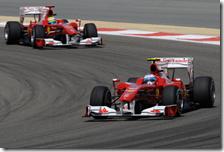 Le due Ferrari al gran premio del Bahrain
