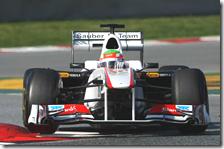 Perez con la Sauber nei test di Barcellona