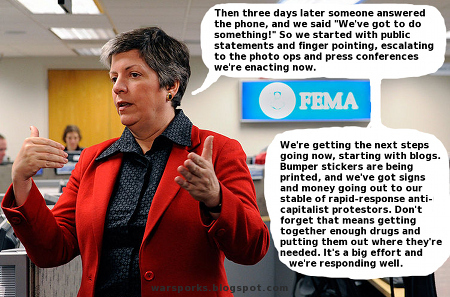 Napolitano describes the government response to the oil spill.