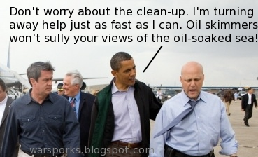 Oil Skimmer Obama reassures his hand-selected politicians that oil skimmers won't spoil their view of oil-soaked seas.