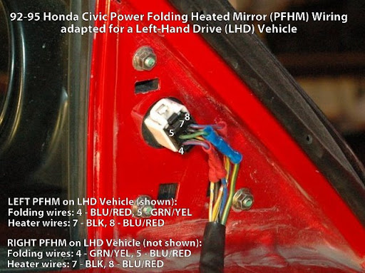 92-95 Civic JDM power folding mirrors Wire layout help! - Honda-Tech