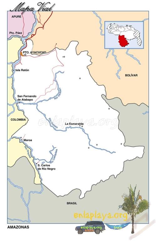 Mapa Vial del Estado Amazonas