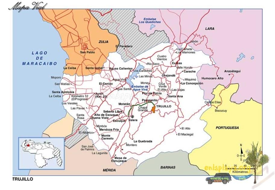 Mapa vial del estado Trujillo