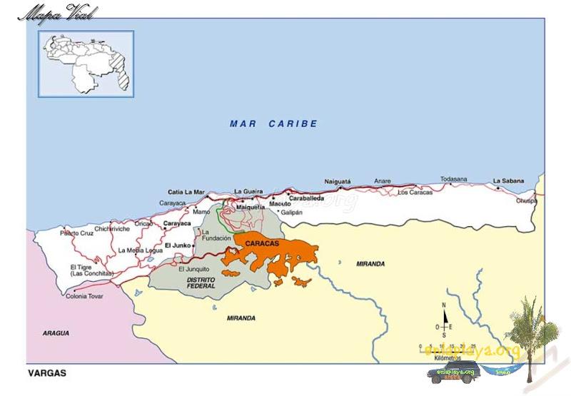 Mapa vial del estado Vargas