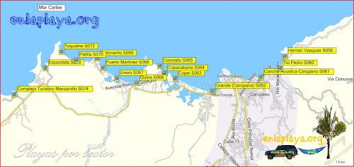 Mapa Playas desde Complejo Turistico Manzanillo hasta Hernan Vasquez