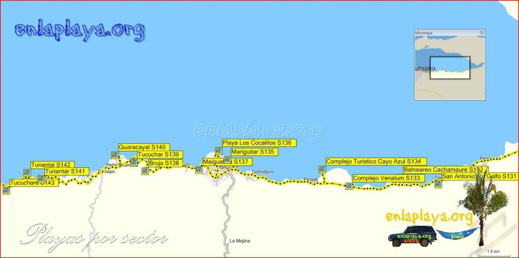 Mapa Playas del sector Golfo de Cariaco