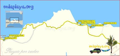 Mapa El Guamache - Playas desde El Guamache hasta Guamachito