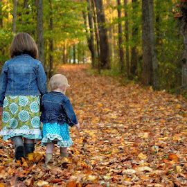 Sisters taking a walk by Tony Moore - People Family ( girls, sisters, female, family, fall, path, children, forest, kids )