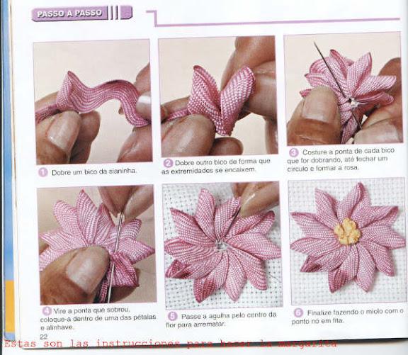 Цветы с ленточек пошагово