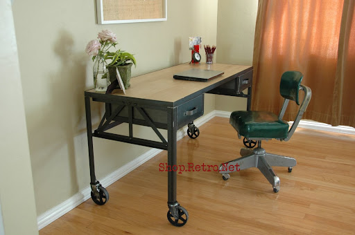 French Vintage Industrial Steel And White Oak Desk On Casters.   Http://