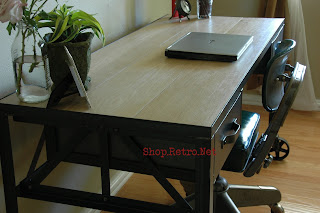 French Vintage Industrial Steel and White Oak Desk on Casters. - http://shop.retro.net/?cat=49