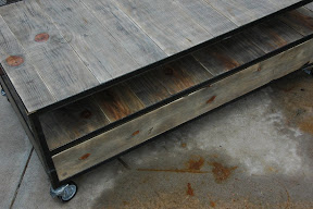 French Industrial Coffee Table - just need to install the handle pulls vintageaz.blogspot.com