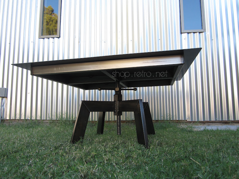Vintage Industrial Coffee Table Dining Table with Adjustable