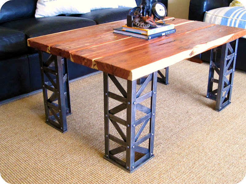 It has a rustic 1.5″ thick cedar top with extensive bracing and riveted  legs. Dimensions are 28″ x 40″ x 19″ tall. It's priced at $1,095 and is a  one of a ... - Coffee Table Vintage Industrial Furniture