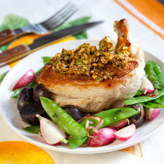 Chicken with Candied Pistachios & Snow Pea-Radish Saute