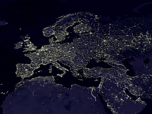 the world from space at night. The Night Lights of Europe
