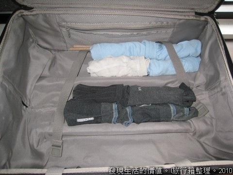 行李箱整理。先把襪子、內衣褲折好捲起來,再放入行李箱