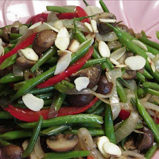 French Baby Beans, Baby Brown Pearl Mushrooms Topped With Almond