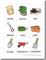 Garden preschool pack printables for Gardening tools vocabulary