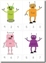 Robot Preschool Pack Part 1 numbers