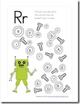 Robot Preschool Pack Part 2 letter find