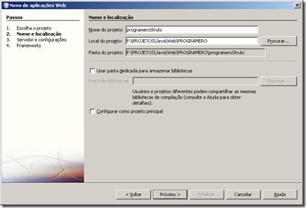 configurando aplicacao web netbeans
