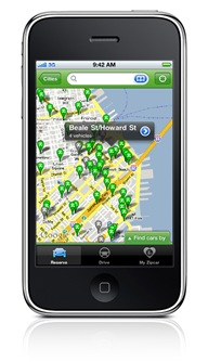 Zipcar car sharing iPhone and iPod touch app