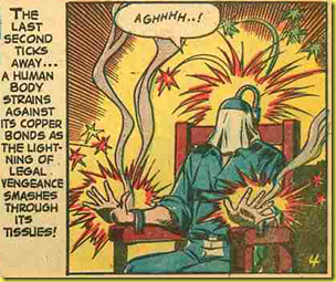 A rare back issue comic book page showing an electric chair execution cartoon