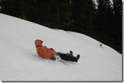 Dad sledding