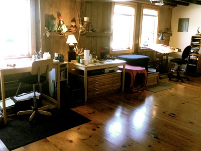 Erin's workstation in her new studio (a recently renovated 100-year-old barn!) shared with her husband, Philip.