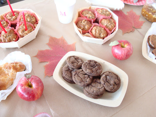 pressed leaves make a simple yet pretty table decoration.  There were lots of delicious apple treats!